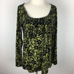 Sundance green top with Floral Velour Medium